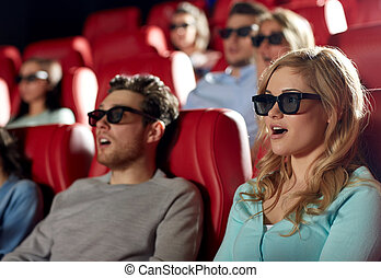friends watching horror movie in 3d theater - cinema,...