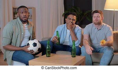 friends with ball and vuvuzela watching soccer - friendship...