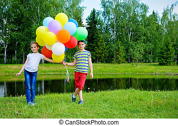 friends with balloons