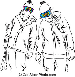 friends women ski equipment having