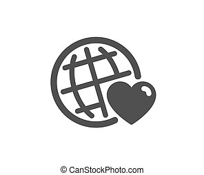 Friends world icon. Friendship love sign. Assistance business. Vector