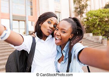 friends, zusammen, afrikanisch, selfie, nehmen, hochschule