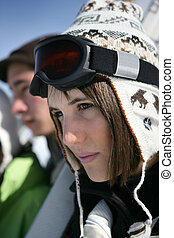friends, zwei, ski fahrend