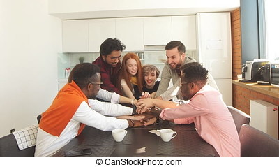 Friendship among mixed race students. united workers concept