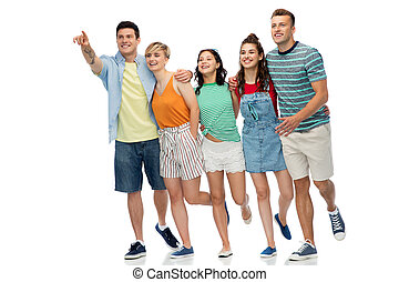 friends running to something over white background
