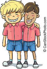 Friendship - cartoon illustration of friend relationship