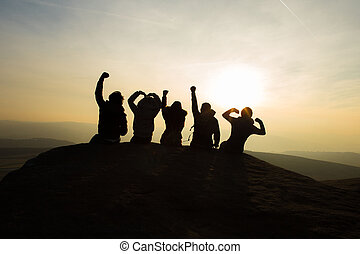 Friendship cheering silhouette