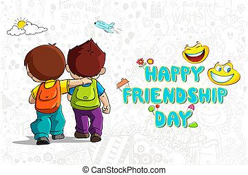 Friendship - illustration of friends walking to school on...