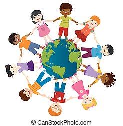 friendship., community., tenue, hands., globe, multiethnic, sourire, groupe, unité, culture., enfance, diversité, la terre, divers, kindergarten., multiculturel, cercle, enfants
