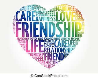 Friendship concept heart word cloud