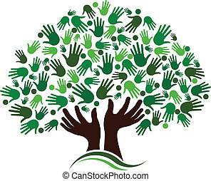 Friendship connection tree image. Hands on hand tree, logo