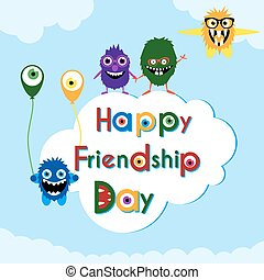 Friendship day greeting card with cute monsters .