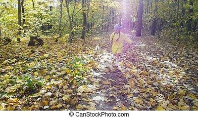 friendship., dziewczyna, pieszczochy, wyścigi, jesień, rodzinny pies, park, pojęcie, mały