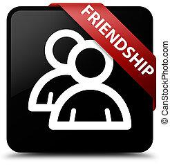 Friendship (group icon) black square button red ribbon in corner