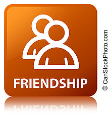Friendship (group icon) brown square button