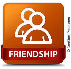 Friendship (group icon) brown square button red ribbon in middle