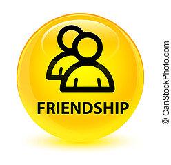 Friendship (group icon) glassy yellow round button