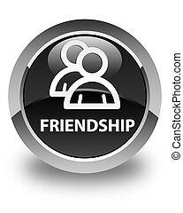 Friendship (group icon) glossy black round button