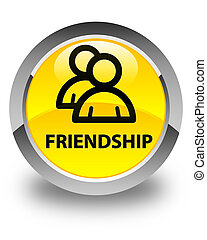 Friendship (group icon) glossy yellow round button
