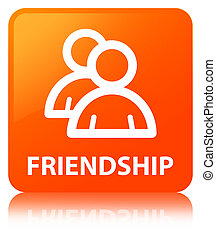 Friendship (group icon) orange square button