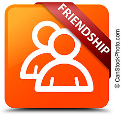 Friendship (group icon) orange square button red ribbon in corner