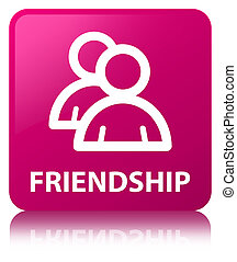 Friendship (group icon) pink square button