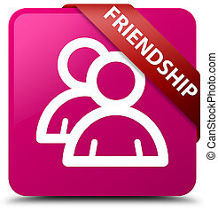 Friendship (group icon) pink square button red ribbon in corner