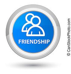 Friendship (group icon) prime cyan blue round button