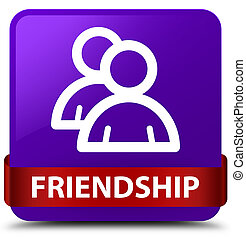 Friendship (group icon) purple square button red ribbon in middle
