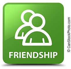 Friendship (group icon) soft green square button