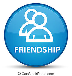 Friendship (group icon) special cyan blue round button