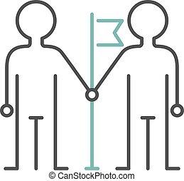 Friendship icon people sign team together teamwork vector line art.