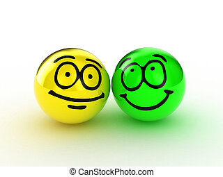 Friendship - Illustration of two spheres with a smile upon...