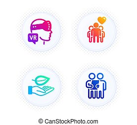 Friendship, Leaf and Augmented reality icons set. Survey sign. Trust friends, Plant care, Virtual reality. Vector