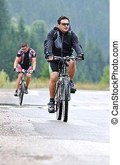 friendship outdoor on mountain bike