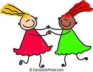 friendship - diverse happy little friends - toddler art...