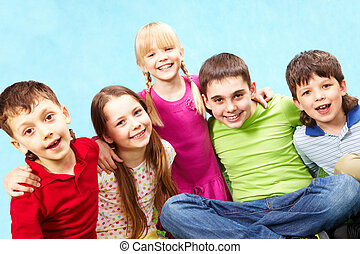Friendship - Image of funny boys and girls embracing each...