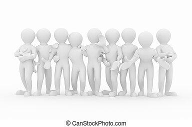 friendship., teamwork., csoport, közül, emberek.