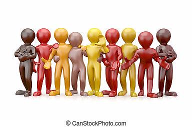 friendship., teamwork., groep, van, mensen.
