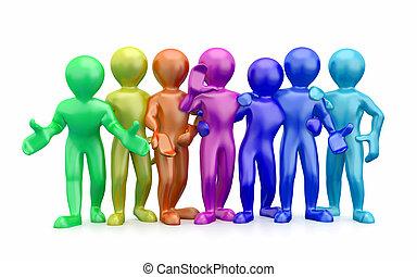 friendship., teamwork., grupo, de, pessoas., 3d