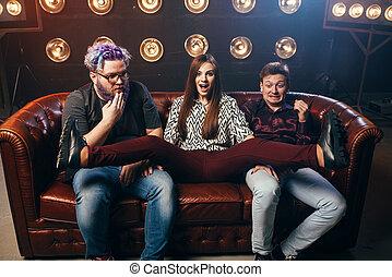 Friendship, threesome ha-ha on sofa, home party - Happy...