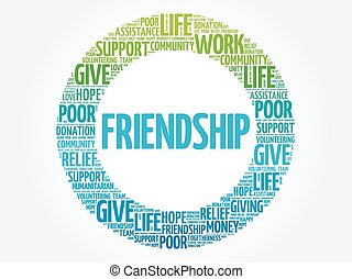Friendship word cloud collage
