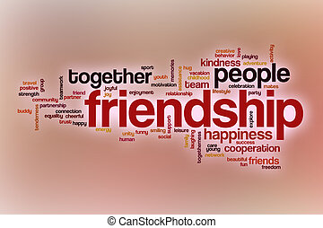 Friendship word cloud with abstract background