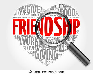 Friendship word cloud with magnifying glass