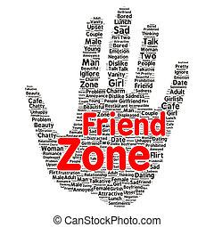 friendzone, concept, mot, nuage