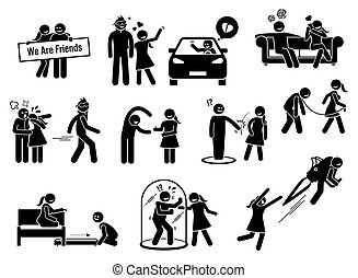 Friendzone or friend zone concept illustrations in stick figures icons.