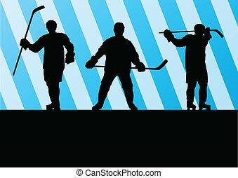 frieren hockeyspieler, silhouette, sport, abstrakt, vektor,...