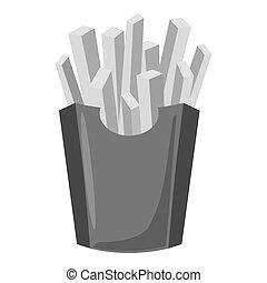 Fries icon, gray monochrome style