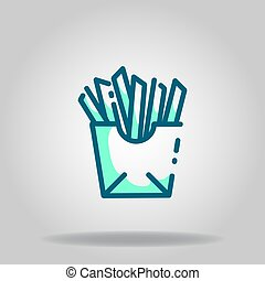 fries icon or logo in  twotone - Logo or symbol of fries ...