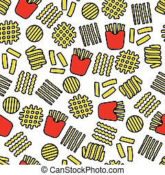 fries icons seamless pattern
